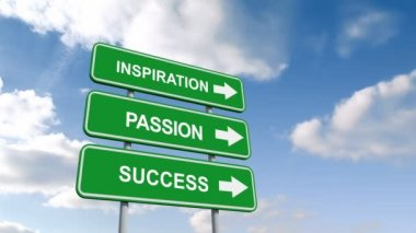 Inspiration passion and success signs against sky — Stock Video