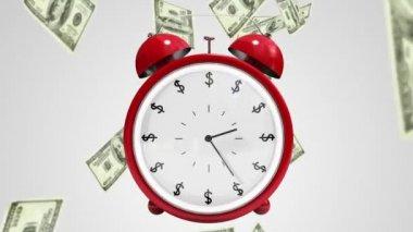 Dollar bills falling with alarm clock — Stock Video