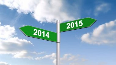 2014 and 2015 signpost against sky — Stock Video