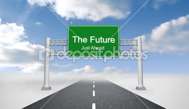 The future just ahead road sign against sky — Stock Video