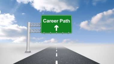 Career path sign over open road — Stock Video