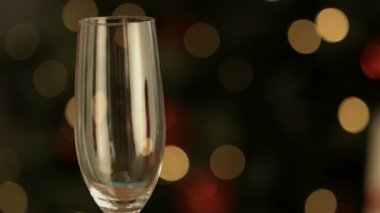 Champagne flute being filled — Stock Video