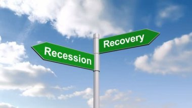 Recession recovery signpost against sky — Stock Video