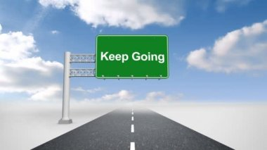 Keep going sign over open road — Stock Video