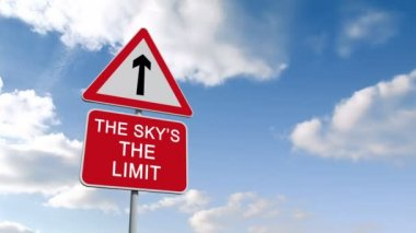 The skys the limit sign against sky — Stock Video