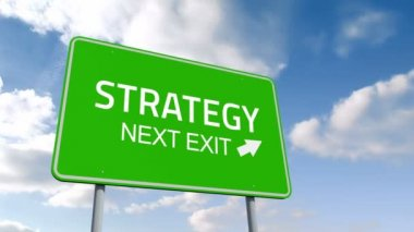Strategy and next exit road sign over cloudy sky — Stock Video