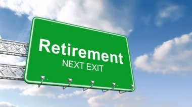Retirement next exit sign against sky — Stock Video