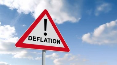 Deflation ahead sign against sky — Stock Video