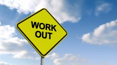 Work out sign against sky — Stock Video