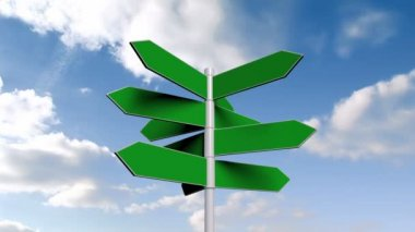 Green signpost against blue sky — Stock Video