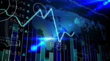 Blue stocks and shares technology screen — Stock Video