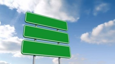Green billboard against blue sky — Stock Video