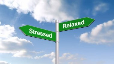 Stressed and relaxed signpost against sky — Stock Video