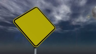 Empty yellow road sign against changing sky — Stock Video
