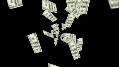 Dollar bills falling over black background — Vídeo stock