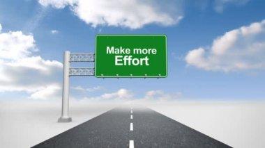 Make more effort road sign against sky — Vídeo de stock