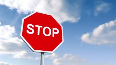 STOP road sign over cloudy sky — Stock Video