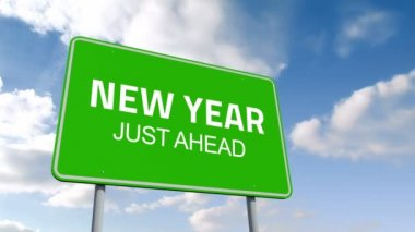 New Year and juste ahead road sign — Stock Video