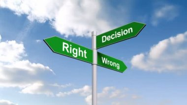 Right wrong decision signpost against sky — Stock Video