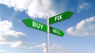Buy fix sell signpost against sky — Stock Video