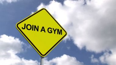Join a gym sign against sky — Stock Video