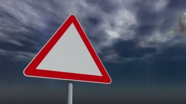 Red and white road sign against changing sky — Stock Video