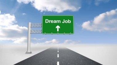 Dream job sign over open road — Stock Video