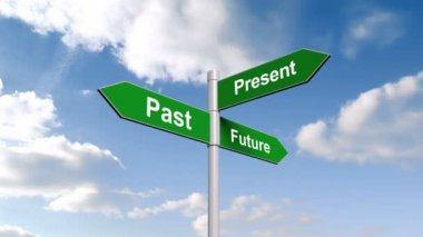 Past present future signpost against sky — Stock Video