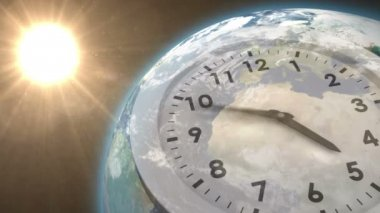 Clock ticking against sun on the earth — Stock Video