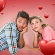 Attractive couple lying and thinking — Stock Photo #64816015