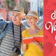 Tourist couple using guide book — Stock Photo #64818101