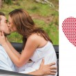 Beautiful couple kissing in back seat — Stock Photo #64818141