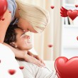 Woman kissing her fiance on the forehead — Stock Photo #64818713