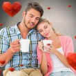 Attractive couple sitting holding mugs — Stock Photo #64818925