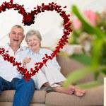 Happy senior couple relaxing on sofa — Stock Photo #64819105