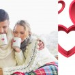 Couple in winter wear drinking coffee — Stock Photo #64819387