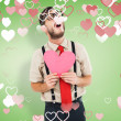 Hipster crying and holding heart card — Stock Photo #64819601