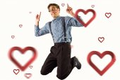 Geeky hipster jumping and pointing — Stock Photo