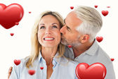 Affectionate man kissing his wife — Stock Photo