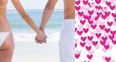 Молодая пара в Купальники, взявшись за руки — Стоковое фото