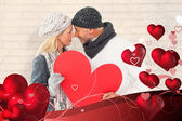 Smiling couple in winter fashion posing — Stock Photo