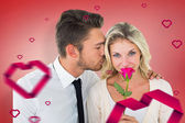 Handsome man kissing girlfriend on cheek — Stock Photo