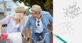 Hip young couple going for a bike ride — Foto Stock