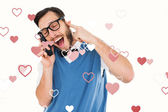 Geeky hipster talking on retro cellphone — Stock Photo