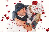 Glückliches Paar Winter Mode hat, auf — Stockfoto