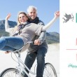 Carefree couple going on a bike ride — Stock Photo #64820751