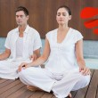 Attractive couple in white sitting in lotus pose — Stock Photo #64820889
