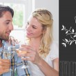 Cute smiling couple enjoying white wine — Stock Photo #64824113