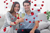 Portrait of lovers toasting their flutes — Stock Photo
