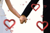 Composite image of mid section of newlywed couple holding hands  — Stockfoto